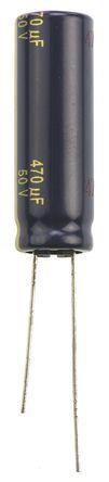 Panasonic - EEUFC1H471L - Panasonic FC 径向 系列 50 V 直流 470μF 通孔 铝电解电容器 EEUFC1H471L, ±20%容差, 60mΩ(等值串联), 最高+105°C