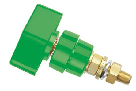 Schutzinger - POL 102 / GN - Schutzinger 4mm 绿色 绝缘 黄铜 接线柱 POL 102 / GN, 1kV, 100A额定电流, M8 x 0.75 螺纹