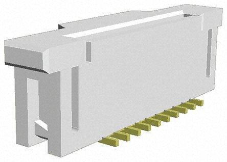 TE Connectivity - 1-1734248-0 - TE Connectivity FPC 系列 1mm 节距 2 行 10 路 直 SMT 母 FPC 连接器 1-1734248-0, 带锁定机制, 金镀镍 电镀触点 ZIF 垂直触点