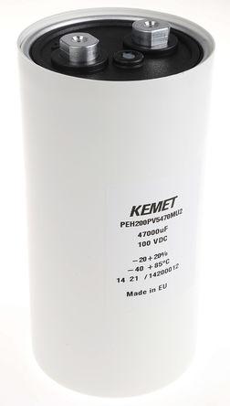 KEMET - PEH200PV5470MU2 - KEMET PEH200 系列 100 V 直流 47000μF 底盘安装 铝电解电容器 PEH200PV5470MU2, ±20%容差, 7mΩ(等值串联), 最高+85°C, 罐 - 螺钉接线端子,径向封装