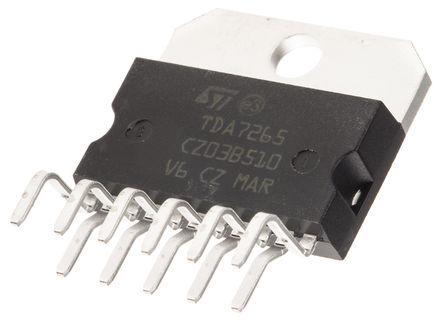 STMicroelectronics - TDA7265 - STMicroelectronics TDA7265 AB 类 立体声 扬声器放大器, +85 °C, 25 W @ 8 Ω最大功率, 11引脚 MULTIWATT V封装
