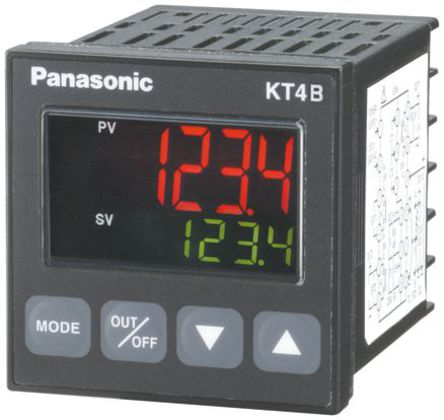 Panasonic - AKT4B211100 - Panasonic KT4B 系列 PID 温度控制器 AKT4B211100, 48 x 48mm, 24 V 交流/直流, 1输出