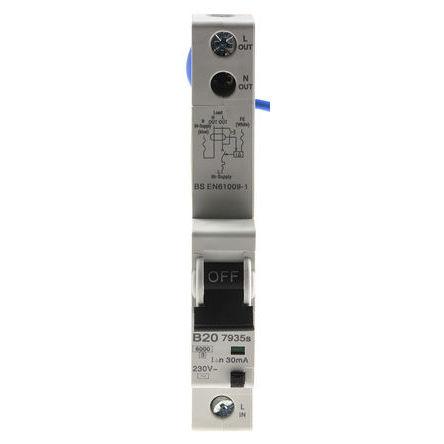 MK - 7935S - MK 7935S 系列 1极 B型 住宅用 RCBO, 7935S, 20A, 6 kA断路能力