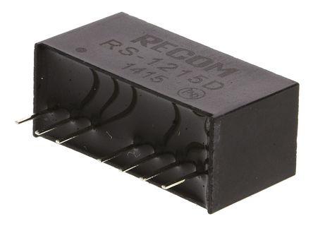 Recom - RS-1215D - Recom RS 系列 2W 隔�x式直流-直流�D�Q器 RS-1215D, 9 → 18 V 直流�入, ±15V dc�出, ±67mA�出, 500V ac隔�x���, SIP封�b