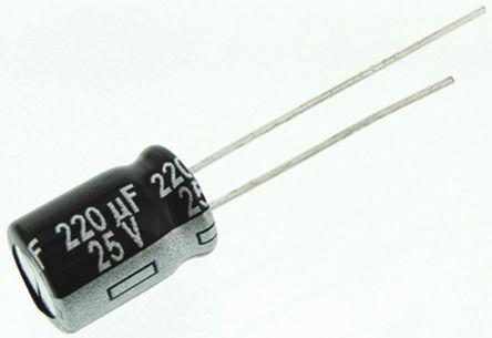 Panasonic - ECA1EHG221 - Panasonic NHG 系列 25 V 直流 220μF 通孔 铝电解电容器 ECA1EHG221, ±20%容差, 最高+105°C