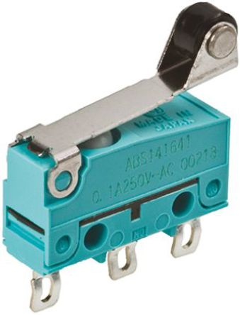 Panasonic - ABS141644 - Panasonic ABS141644 单刀双掷 滚轮杠杆 微动开关, 100 mA @ 30 V 直流