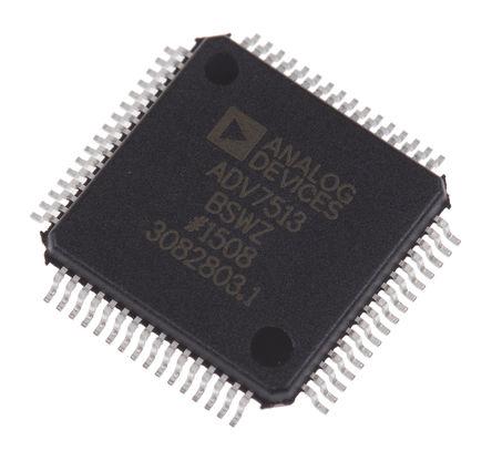 Analog Devices - ADV7513BSWZ - ADV7513BSWZ 8通道 HDMI �l射器, �m用于DDR、HDMI、ITU656、RGB、SPDIF 立�w� LPCM、YCbCr���, 64� LQFP封�b