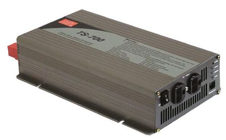 Mean Well - TS-700-212-D - Mean Well 700W 直流-交流汽车电源逆变器 TS-700-212-D, 10.5 → 15V dc / 230V ac, 89%效能, 3.8kg重量, 295 x 184 x 70mm