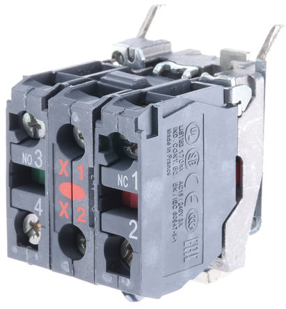 Schneider Electric - ZB4BW0B45 - Schneider Electric XB4 系列 接触块和照明块 ZB4BW0B45, 1 常开,1 常闭, 24 V 交流/直流, 红色 LED, 螺钉接端
