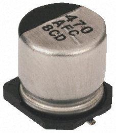 Panasonic - EEEFC1C221P - Panasonic FC SMD 系列 16 V 直流 220μF SMD 铝电解电容器 EEEFC1C221P, ±20%容差, 最高+105°C, G封装