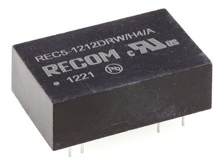 Recom - REC5-1212DRWH4/A - Recom REC5 系列 5W 隔�x式直流-直流�D�Q器 REC5-1212DRWH4/A, 9 → 18 V 直流�入, ±12V dc�出, ±210mA�出, DIP封�b