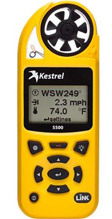 Kestrel - 0855LVYEL - Kestrel 0855LVYEL 风速计, 最大风速40m/s, 测量气流、海拔、密度、密度海拔、露点、蒸发率、热指数、含湿量、压力、相对空气密度、顺风、湿球温度、风寒