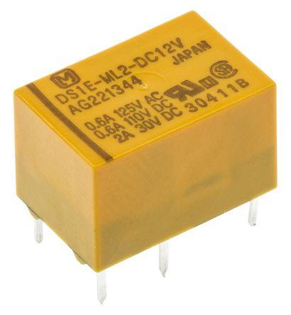 Panasonic - DS1EML212 - Panasonic DS1EML212 单刀双掷 PCB 安装 自锁继电器, 12V dc, 适用于通用应用