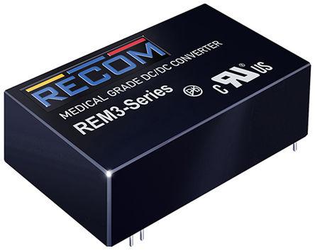 Recom - REM3-1215D/A - Recom REM3 系列 3W 隔离式直流-直流转换器 REM3-1215D/A, 9 → 18 V 直流输入, ±15V dc输出, ±100mA输出, 5kV ac隔离电压, 86 %, 86.5 %效能
