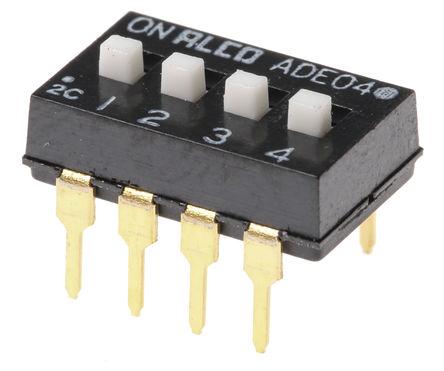 TE Connectivity - 1825360-3 - TE Connectivity 1825360-3 4位置 滑动 通孔 DIP 开关, 单刀单掷, 100 mA@ 24 V 直流