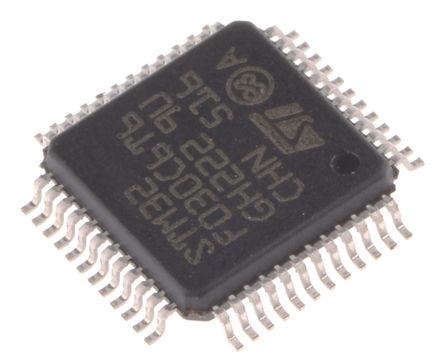 STMicroelectronics - STM32F030C6T6 - STMicroelectronics STM32F 系列 32 bit ARM Cortex M0 MCU STM32F030C6T6, 48MHz, 32 kB ROM 闪存, 4 kB RAM, LQFP-48