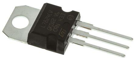 STMicroelectronics - L7824CV - STMicroelectronics L78xx 系列 L7824CV 线性稳压器, 最大为 40 V输入, 24 V输出, 1.5A最大输出, 3引脚 TO-220