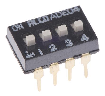 TE Connectivity - ADE0404 - TE Connectivity ADE0404 4位置 滑动 通孔 DIP 开关, 4P, 100 mA@ 24 V 直流