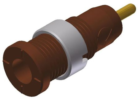 Hirschmann Test & Measurement - 975459705 - Hirschmann 975459705 棕色 母 测试插座, 1000V ac/dc, 10A, 镀金触点