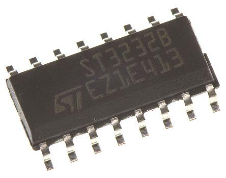 STMicroelectronics - ST3232BDR - STMicroelectronics ST3232BDR 400kbps 线路收发器, RS-232接口, 2-TX 2-RX, 3.3 V、5 V单电源, 16引脚 SOIC封装