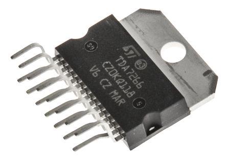 STMicroelectronics - TDA7266 - STMicroelectronics TDA7266 AB 类 立体声 扬声器放大器, +70 °C, 7 W @ 8 Ω最大功率, 15引脚 MULTIWATT V封装