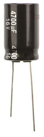 Panasonic - ECA1CHG472 - Panasonic NHG 系列 16 V 直流 4700μF 通孔 铝电解电容器 ECA1CHG472, ±20%容差, 最高+105°C