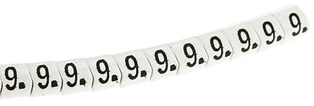 "HellermannTyton - 901-10276 - HellermannTyton Helagrip 系列 1000件�b 白底黑字 滑上固定 ��|�俗R 901-10276, 3.5mm�L, 3.3 mm��, 1 → 3mm��|直��, 印有""9""�D例"