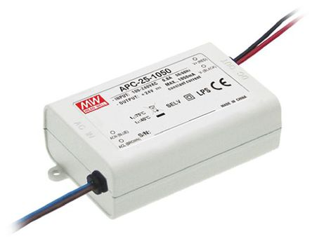 Mean Well - APC-25-1050 - Mean Well LED 驱动器 APC-25-1050, 127 → 370 V 直流,90 → 264 V 交流输入, 9 → 24V输出, 1.05A输出, 25.2W