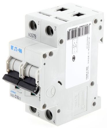 Eaton - FAZ6-C16/2 - Eaton xEffect FAZ6 系列 2极 16 A MCB 微型断路器 FAZ6-C16/2, 6 kA 断开能力, C型 跳闸特性