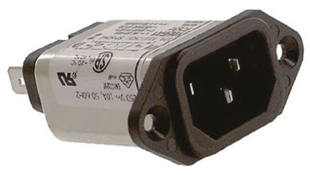 TE Connectivity - 10EEA1 - TE Connectivity 10EEA1 电源线过滤, 10 A, 250 V 交流, 54.6 x 50.3 x 20.6 mm