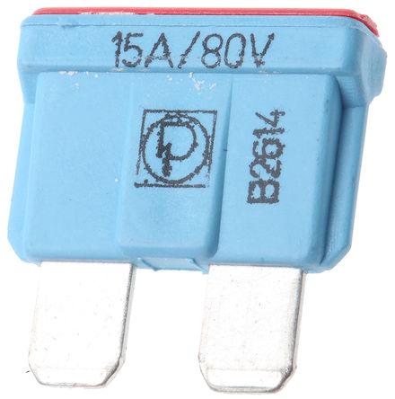 Littelfuse - 166.7000.5156 - Littlefuse 15A 蓝色 车用插片式熔断器 166.7000.5156, 80V dc, 19mm x 5mm x 13.2mm