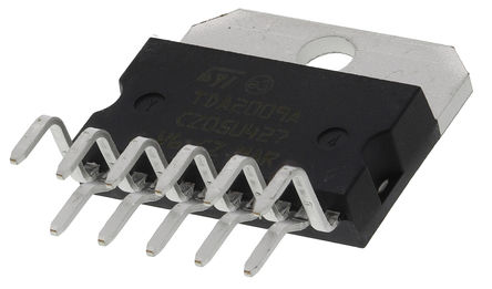 STMicroelectronics - TDA2009A - STMicroelectronics TDA2009A AB 类 立体声 音频放大器, +150 °C, 12.5 W @ 4 Ω, 7 W @ 8 Ω最大功率, 11引脚 MULTIWATT V封装