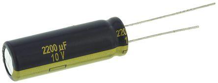 Panasonic - EEUFC1A222L - Panasonic FC 径向 系列 10 V 直流 2200μF 通孔 铝电解电容器 EEUFC1A222L, ±20%容差, 35mΩ(等值串联), 最高+105°C