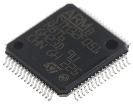 STMicroelectronics - STM32F051R8T6 - STM32F 系列 STMicroelectronics 32 bit ARM Cortex M0 MCU STM32F051R8T6, 48MHz, 64 kB ROM 闪存, 8 kB RAM, LQFP-64