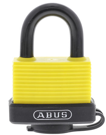 ABUS - 70AL/45 YELLOW KA - Abus 70AL/45 YELLOW KA 相同配匙 黄色 铝,钢 安全挂锁, 8mm 锁钩