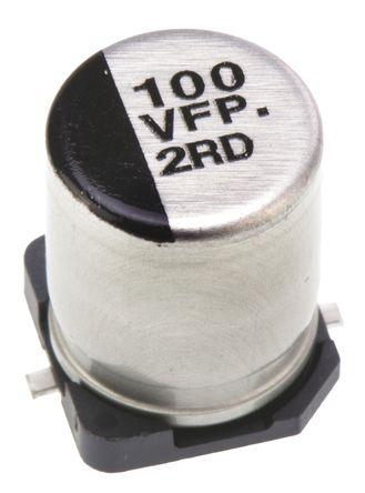 Panasonic - EEEFP1V101AP - Panasonic FP SMD 系列 35 V 直流 100μF SMD 铝电解电容器 EEEFP1V101AP, ±20%容差, 80mΩ(等值串联), 最高+105°C, F封装