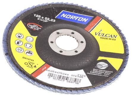 Norton - 66254475340 - Norton Flap Disc 系列 Vulcan 粒度120 氧化锆铝 打磨盘 66254475340, 125mm直径