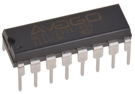 Broadcom - HCTL-2001-A00 - Broadcom HCTL-2001-A00, 双 三态 反相 计数器、解码器, 8 线解复, 4.5 to 5.5 V电源, 16引脚 PDIP封装