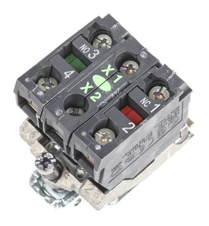 Schneider Electric - ZB4BW0B35 - Schneider Electric XB4 系列 接触块和照明块 ZB4BW0B35, 1 常开,1 常闭, 24 V 交流/直流, 绿色 LED, 螺钉接端