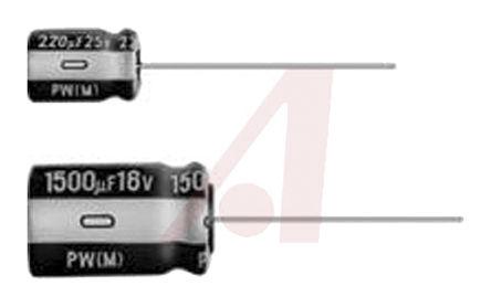 Nichicon - UPW1J681MHD6 - Nichicon PW 系列 63 V 680μF 通孔 铝电解电容器 UPW1J681MHD6, ±20%容差, 最高+105°C, JIS C 5101-1封装