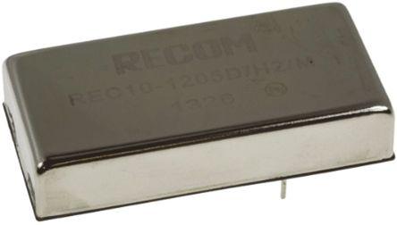 Recom - REC10-4805S/H2/M - Recom REC10 系列 10W 隔离式直流-直流转换器 REC10-4805S/H2/M, 36 → 75 V 直流输入, 5V dc输出, 2A输出, 2kV dc隔离电压, 86 → 87%效能