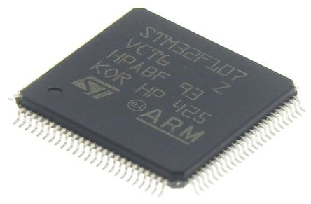 STMicroelectronics - STM32F107VCT6 - STM32F 系列 STMicroelectronics 32 bit ARM Cortex M3 MCU STM32F107VCT6, 72MHz, 256 kB ROM 闪存, 64 kB RAM, 1xUSB, LQFP-100