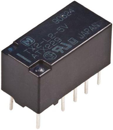 Panasonic - TX2L212J - Panasonic TX2L212J 双刀双掷 PCB 安装 自锁继电器, 2 A, 12V dc, 适用于汽车应用