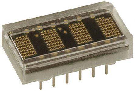 Broadcom - HCMS-3907 - Broadcom 4字符 字母数字 7 x 5点阵 绿色 LED 显示器 HCMS-3907, 1 mcd, 3.71mm高字符, 通孔安装