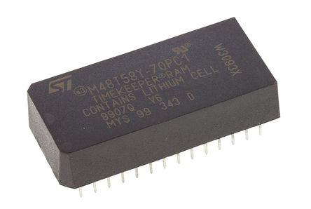 STMicroelectronics - M48T58Y-70PC1 - STMicroelectronics M48T58Y-70PC1 实时时钟 (RTC), 备用电池、日历、芯片取消选择、转移、写入保护功能, 8192B RAM, 并行总线, 4.5 → 5.5 V电源, 28引脚