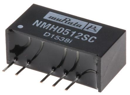 Murata Power Solutions - NMH0512SC - Murata Power Solutions NMH 系列 2W 隔离式直流-直流转换器 NMH0512SC, 4.5 → 5.5 V 直流输入, ±12V dc输出, ±83mA输出, 1kV隔离电压, 82%效能