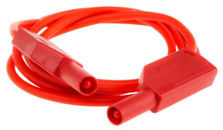 Multi Contact - 28.0124-100-22 - Multi Contact 28.0124-100-22 红色 测试引线, 32A额定电流, 1 kV, 600 V, 公至公, 1m长
