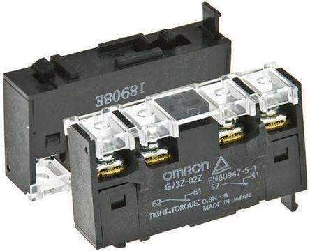 Omron - G73Z-02Z - Omron G73Z-02Z DIN Rail 辅助触点块, 双刀单掷