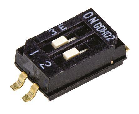 TE Connectivity - GDH02S04 - TE Connectivity GDH02S04 2位置 滑动 表面安装 DIP 开关, DP, 25 mA@ 24 V 直流