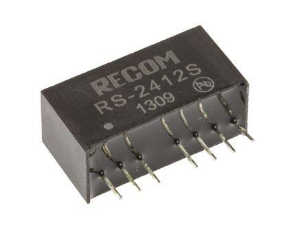 Recom - RS-2412S - Recom RS 系列 2W 隔�x式直流-直流�D�Q器 RS-2412S, 18 → 36 V 直流�入, 12V dc�出, 166mA�出, 500V ac隔�x���, SIP封�b